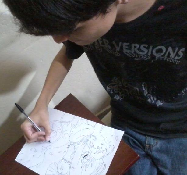 Henrique desenhando Sakura card Captors